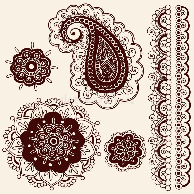 Flores de Mehndi do Henna e vetor de Paisley ilustração do vetor