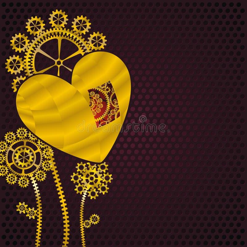 Flores De Oro Del Corazón Y Del Engranaje Stock de ilustración ...