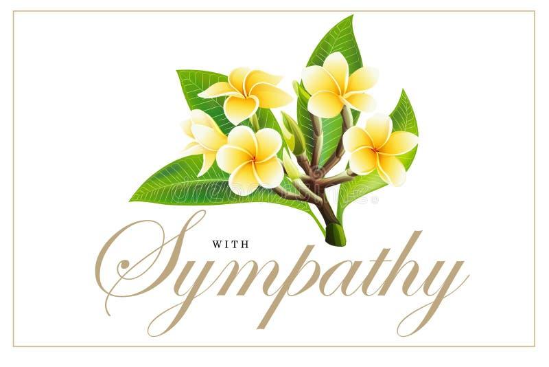 Flores de oro del frangipani o del plumeria con las hojas Postal de la invitaci?n del vector imagen de archivo