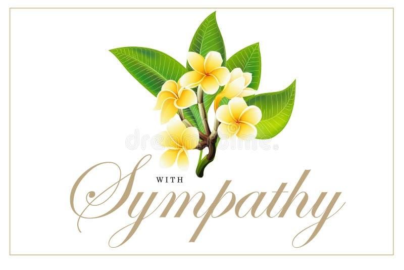 Flores de oro del frangipani o del plumeria con las hojas Postal de la invitaci?n del vector imagen de archivo libre de regalías