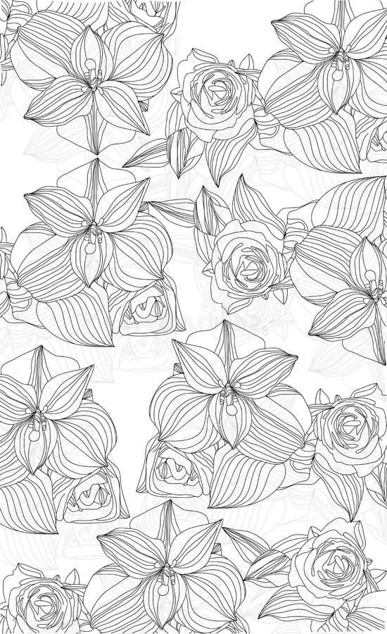 Flores de orquídeas y de rosas ilustración del vector