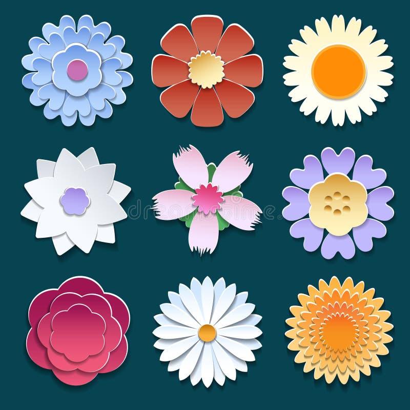 Flores de papel de la papiroflexia 3d fijadas stock de ilustración