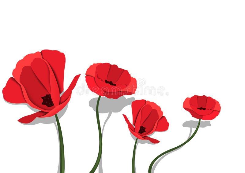 Flores de papel rojas en el fondo blanco libre illustration