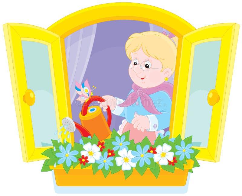 Flores de riego de la abuelita stock de ilustración