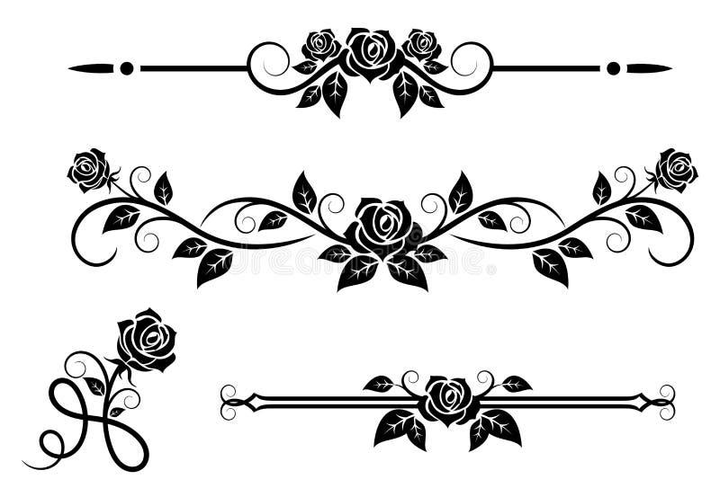 Flores de Rose con los elementos del vintage libre illustration