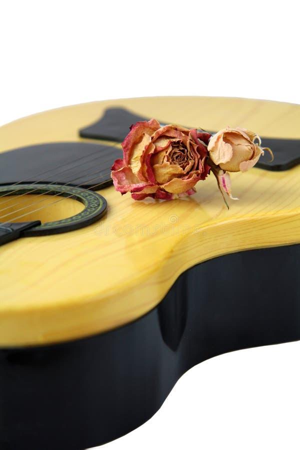 Flores de Rose y guitarra amarilla fotografía de archivo