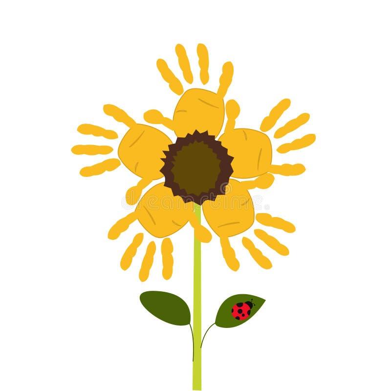 Flores de Sun con vector de la impresión de la mano del bebé stock de ilustración