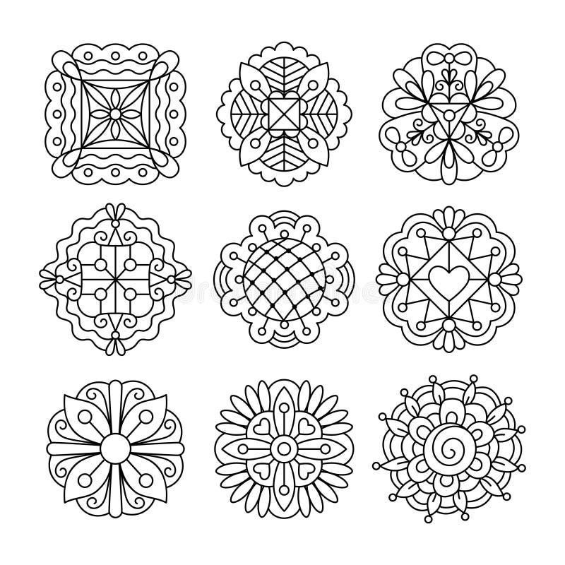 Flores de tinta preta do desenho ilustração stock