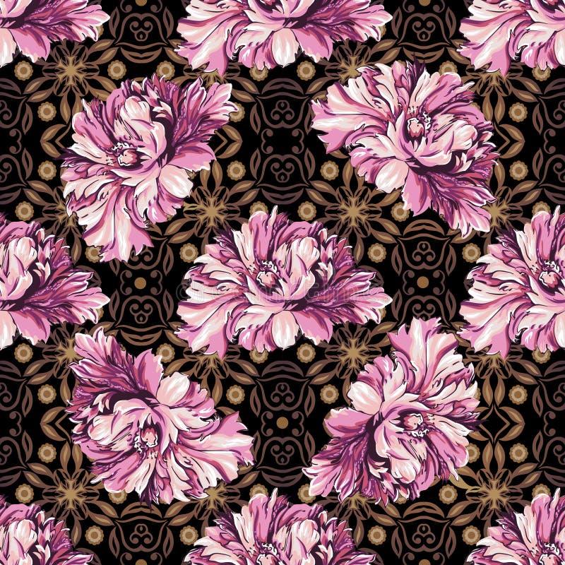 Flores decorativas com teste padrão do barocco ilustração stock