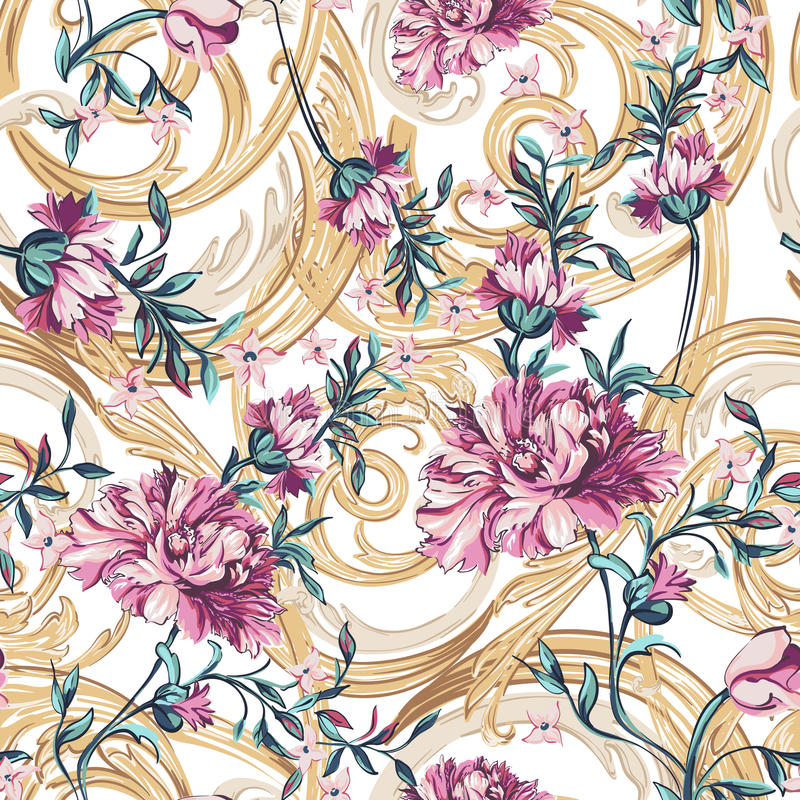 Flores decorativas com teste padrão sem emenda do barocco ilustração do vetor