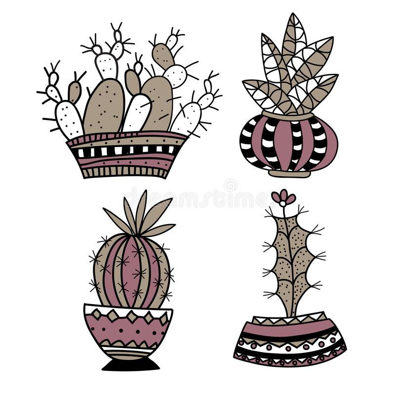 Flores decorativas criativas no vaso Grande para a tela, matéria têxtil ilustração do vetor