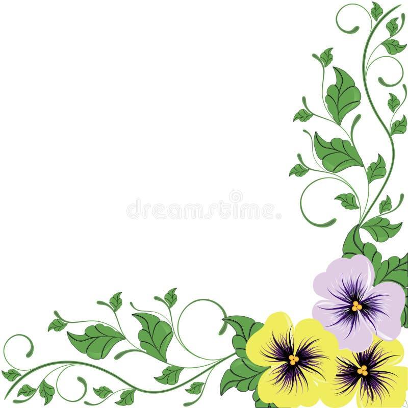 Flores decorativas de la belleza aisladas en blanco stock de ilustración