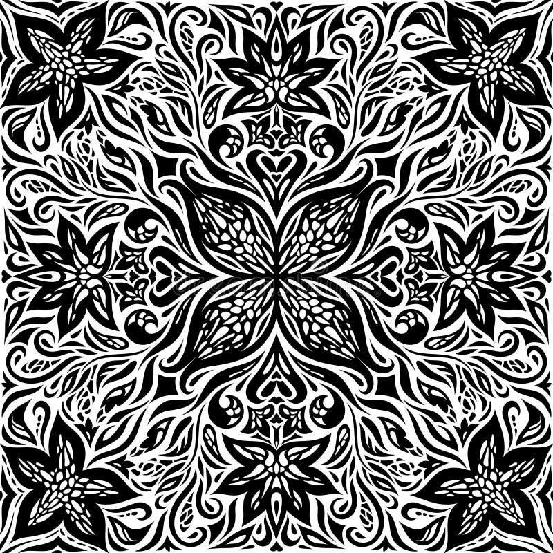 Flores decorativas em preto & no branco, projeto gráfico da mandala da tatuagem ornamentado decorativa floral do fundo ilustração royalty free