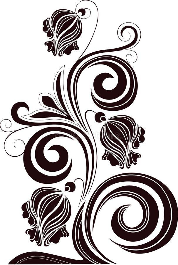 Flores decorativas em um fundo branco ilustração stock