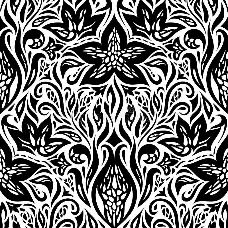 Flores decorativas no projeto gráfico da tatuagem ornamentado decorativa floral branca preta do fundo do projeto ilustração royalty free