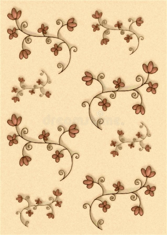 Flores decorativas pequenas ilustração stock