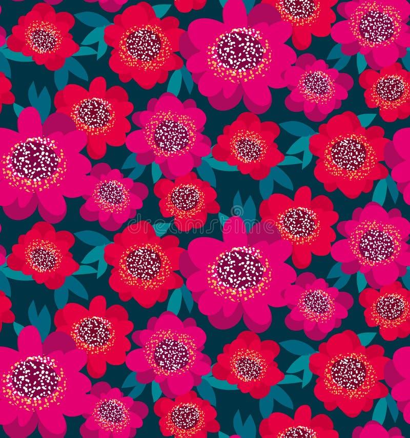 Flores decorativas rosadas y rojas brillantes de la camelia libre illustration
