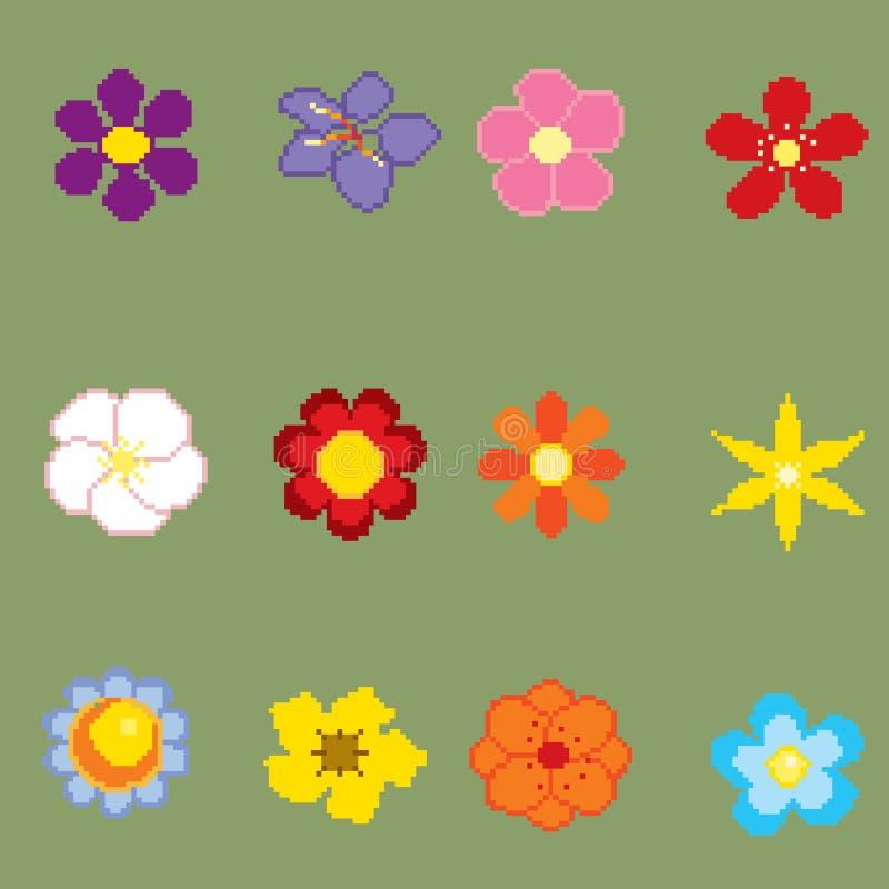 Flores del arte del pixel ilustración del vector
