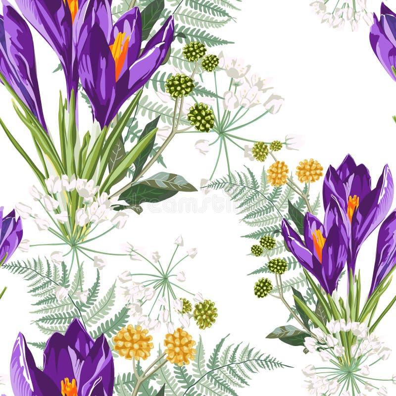 Flores del azafrán y modelo violetas florales inconsútiles del helecho en un fondo blanco ilustración del vector