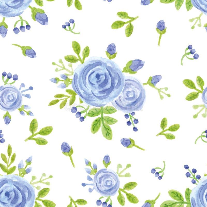 Flores del azul de la acuarela Modelo inconsútil lindo stock de ilustración