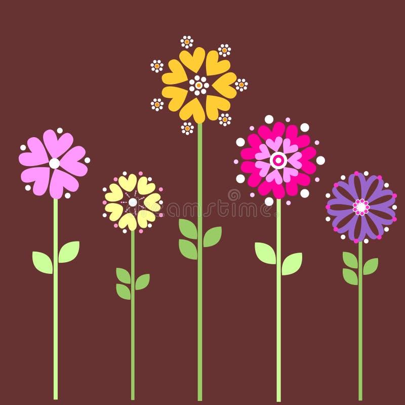 Flores del corazón stock de ilustración