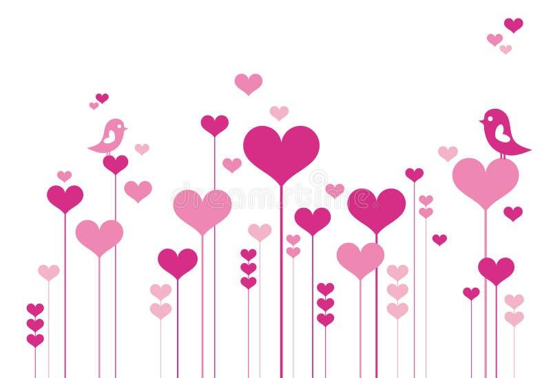 Flores del corazón con los lovebirds stock de ilustración