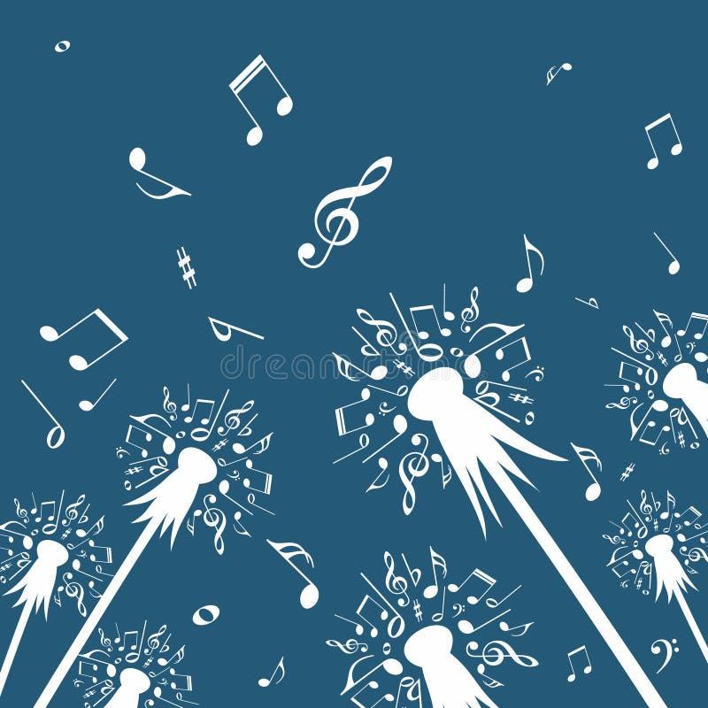 Flores del diente de león con las notas de la música stock de ilustración
