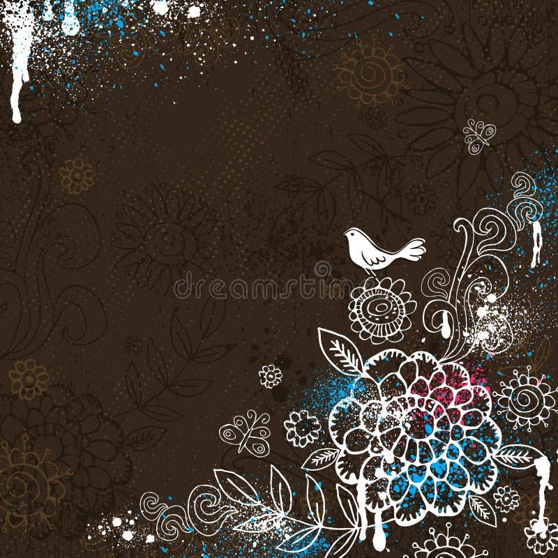 Flores del drenaje de la mano en fondo marrón stock de ilustración