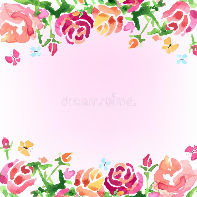 Flores del fondo de la acuarela, vector de las rosas de la primavera foto de archivo libre de regalías
