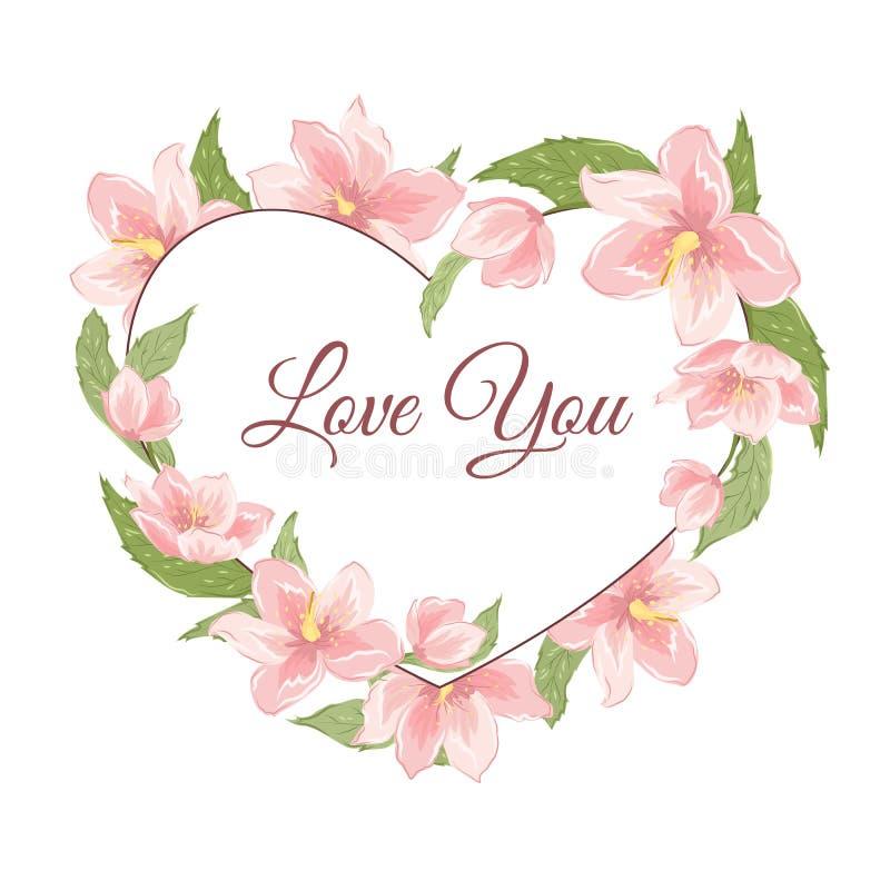 Flores del hellebore de Sakura de la magnolia del rosa de la forma del corazón ilustración del vector
