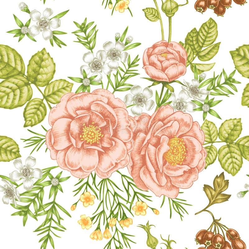 Flores del jardín Estampado de flores inconsútil en estilo victoriano stock de ilustración