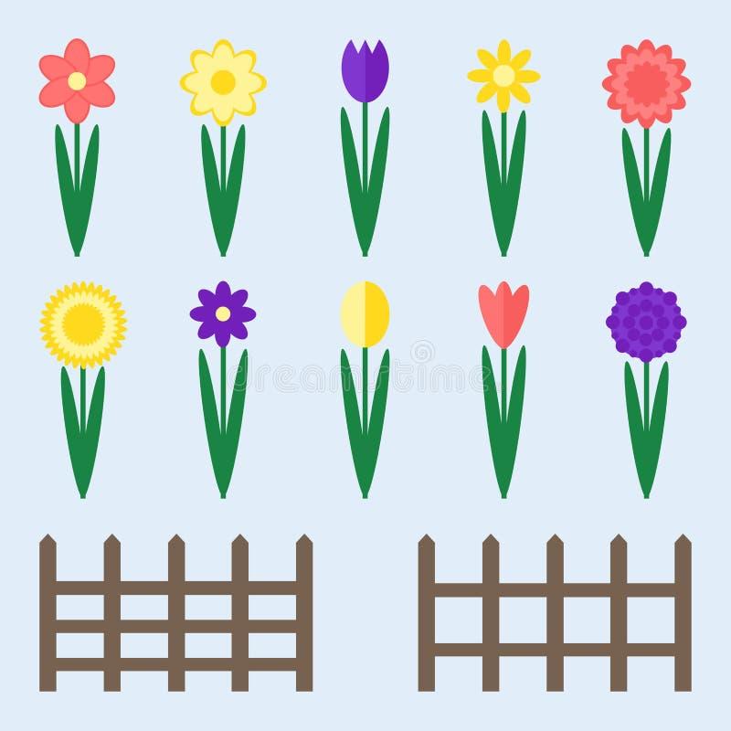 Flores del jardín fijadas stock de ilustración