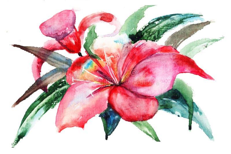 Flores del lirio, ilustración de la acuarela stock de ilustración