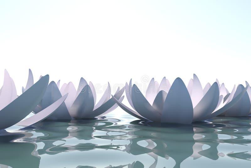 Flores del loto del zen en agua stock de ilustración