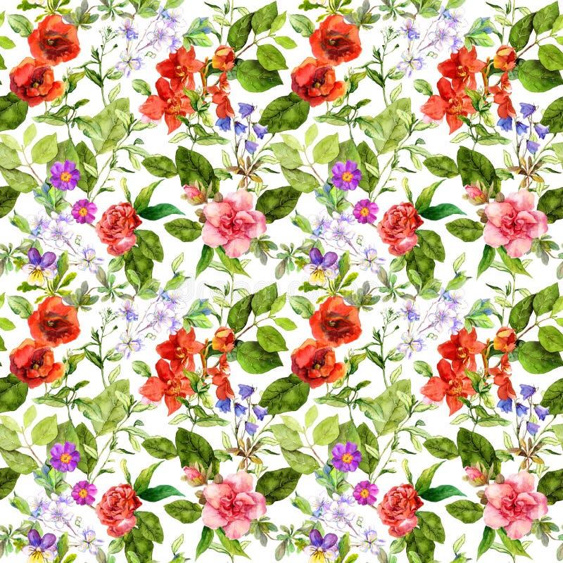 Flores del prado, hierbas del verano, hierbas salvajes Repetición del modelo botánico watercolor stock de ilustración