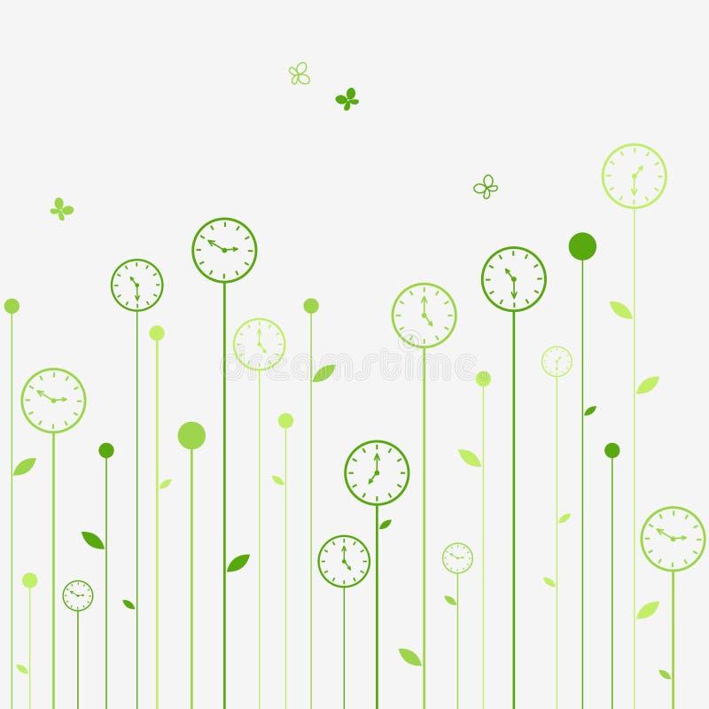 Flores del reloj ilustración del vector
