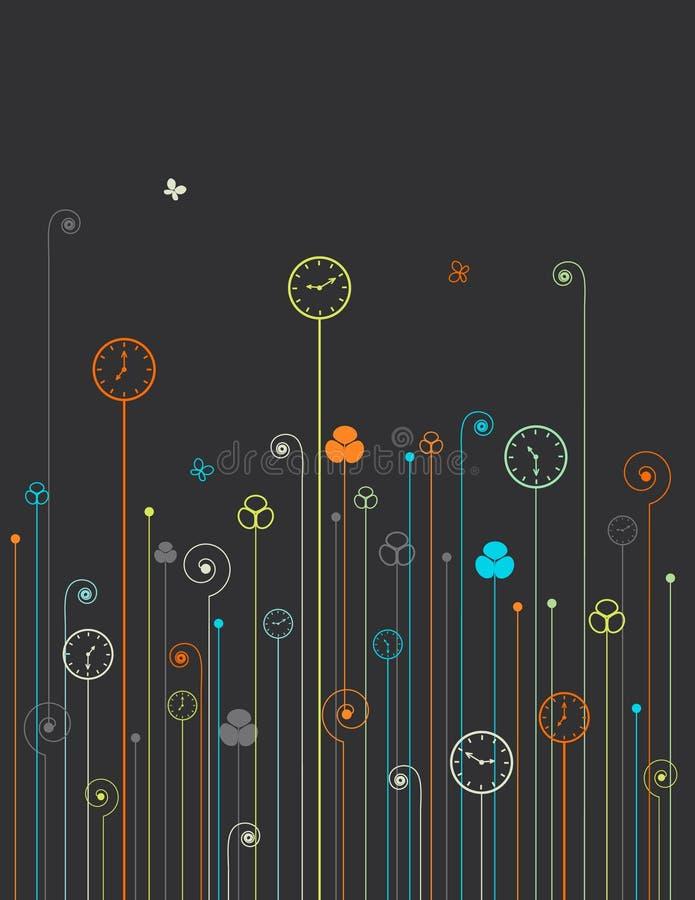 Flores del reloj stock de ilustración