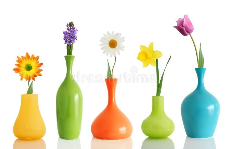 Flores del resorte en floreros foto de archivo