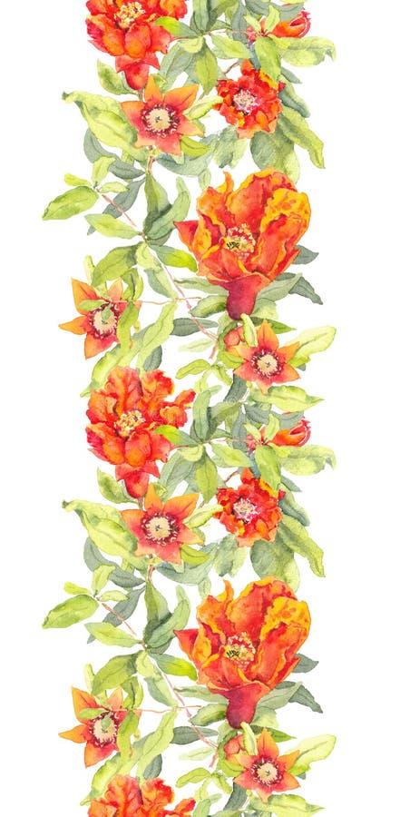 Flores del rojo de la granada Repetición del marco floral watercolor libre illustration