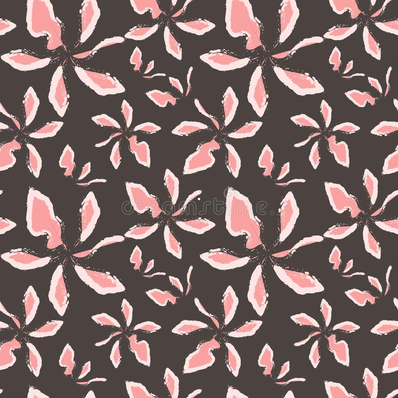 Flores del rosa del arte abstracto y blancas en un fondo gris ilustración del vector