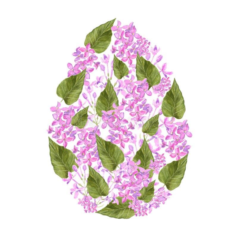 Flores del rosa de la lila de la acuarela y pétalos y hoja verde del diseño del huevo de Pascua del syringa Para la decoración de stock de ilustración