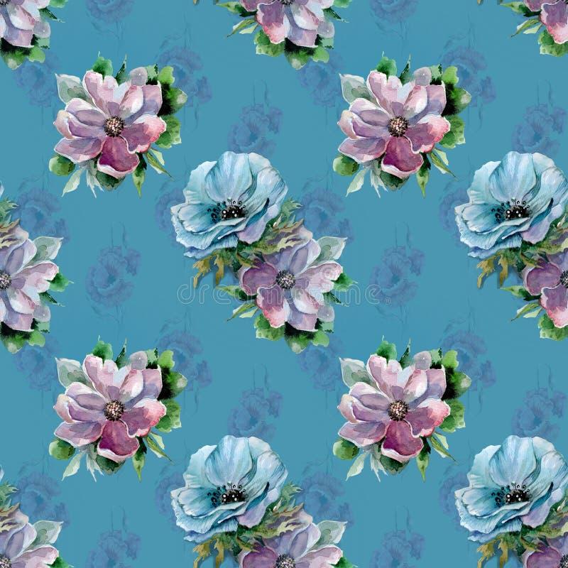 Flores del verano en el fondo azul, dibujo de la acuarela ilustración del vector