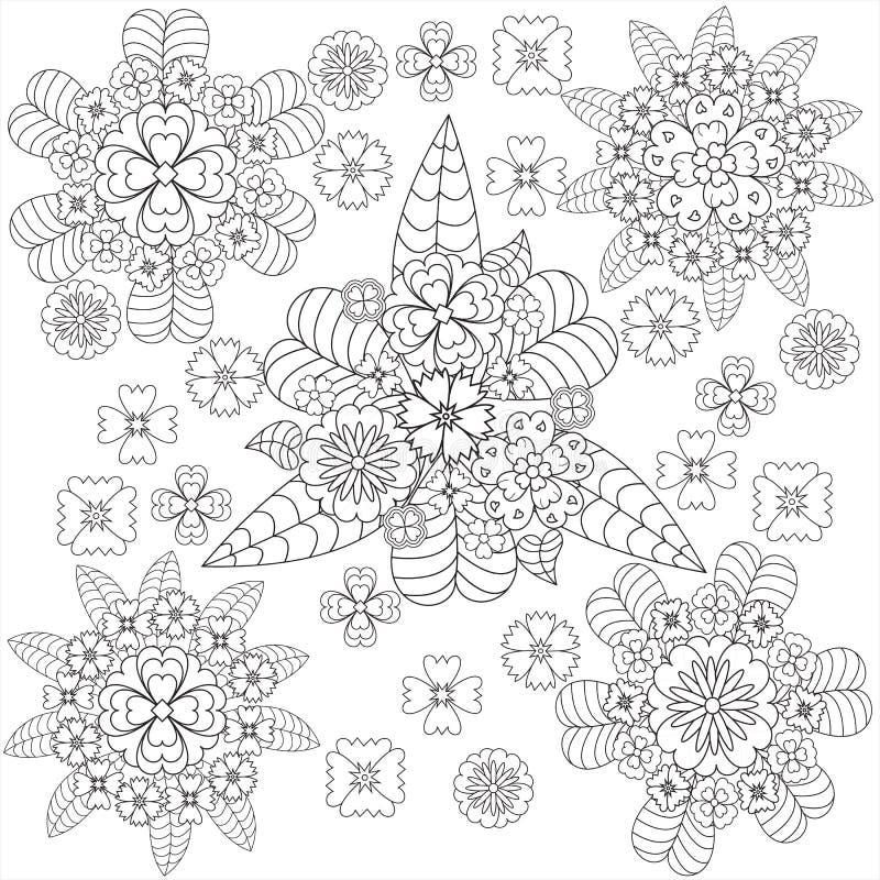 Flores del whith del estampado de flores del arte del garabato del vector stock de ilustración