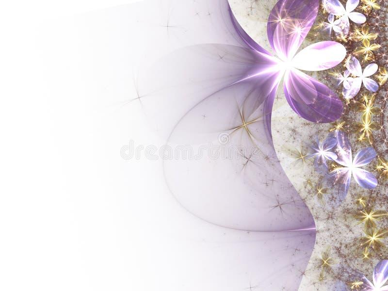Flores delicadas brilhantes do fractal ilustração stock