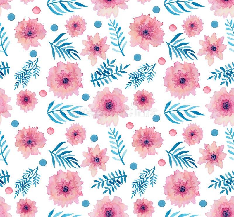 Flores delicadas cor-de-rosa da aquarela, Dots And Leaves Seamless Pattern ilustração stock
