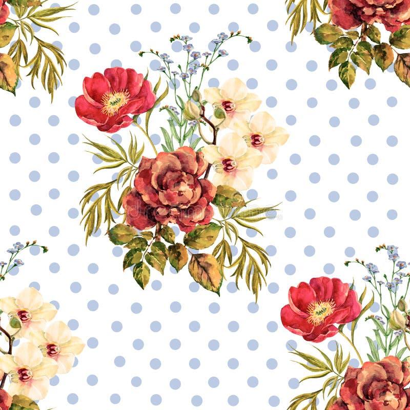 Flores delicadas del ramo de la acuarela con las gotas en el fondo blanco Modelo inconsútil delicado para el diseño stock de ilustración