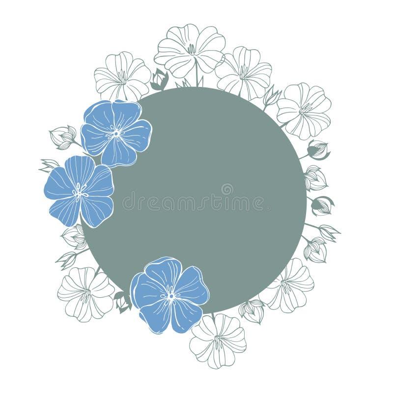 Flores desenhadas mão Flores da planta do linho ilustração royalty free