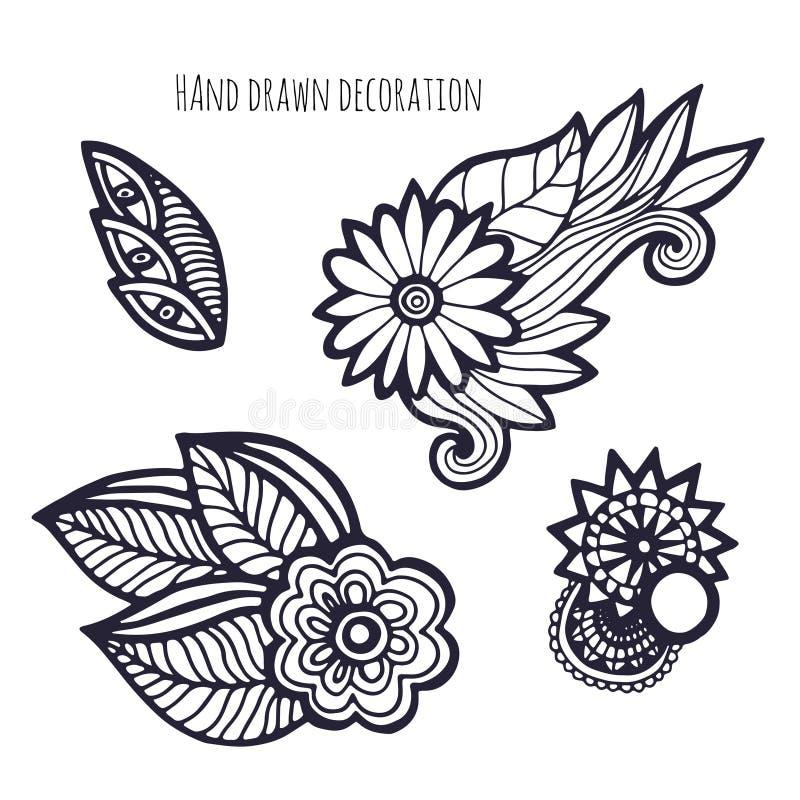 Flores desenhadas mão Decoração da página da coloração Vetor ajustado com flor lunática ilustração do vetor