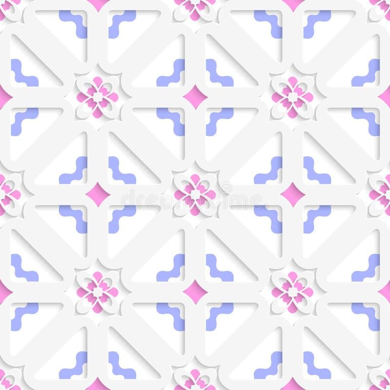 Flores diagonales acodadas con el azul y el rosa libre illustration