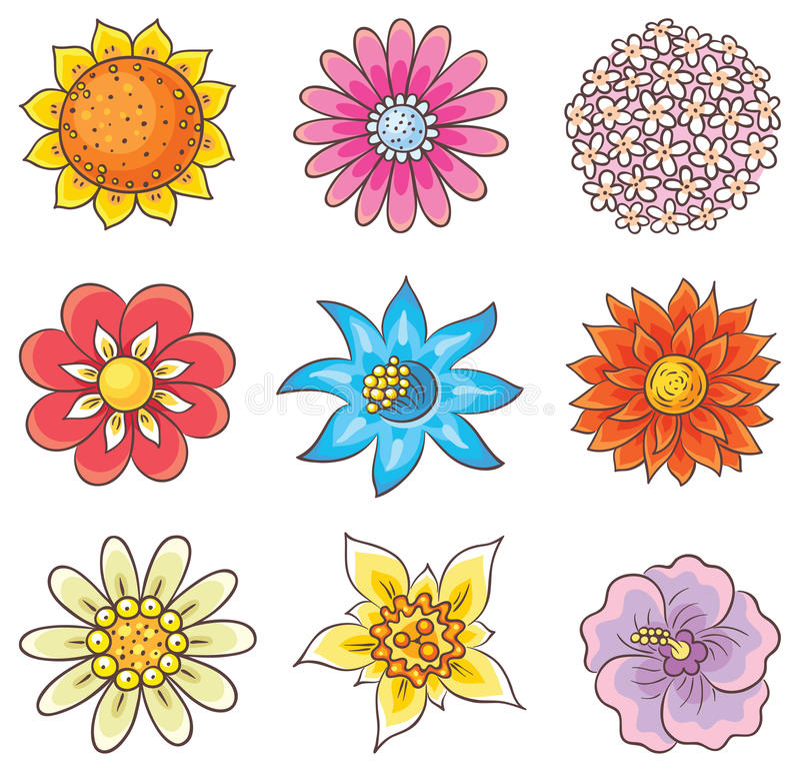 Flores dibujadas mano de la historieta stock de ilustración